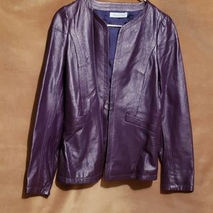 GEREN FORD Purple Leather Jacket Sz 6